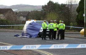 Police at the scene of the accident on Charleston Drive in Dundee.