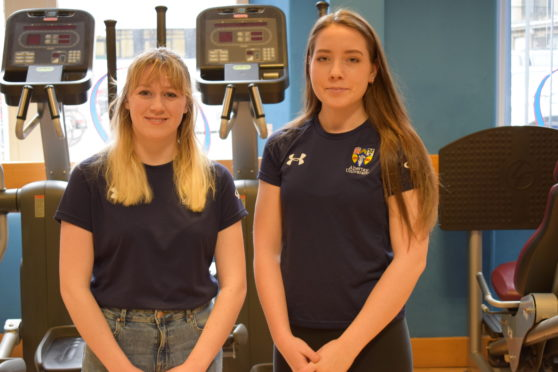 Jennifer (on the left) and Philippa (on the right) in Abertay's gym