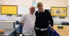 Jilly McCord with Masterchef The Professionals 2016 winner Gary Maclean, during a visit to Dollar Academy