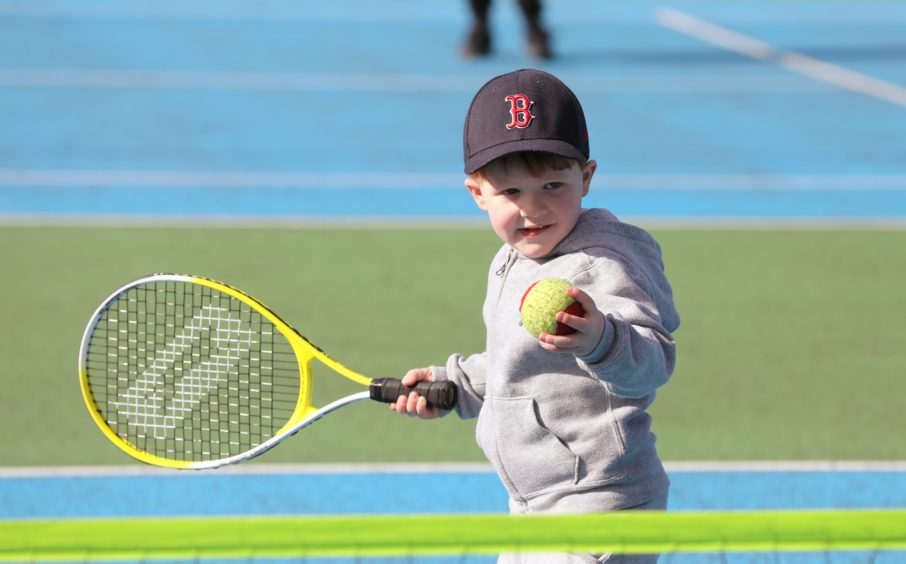 Big Tennis Weekend at Dawson park Dundee for all ages, 3 year Broughty Ferry in action,