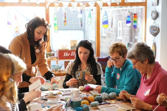 Gayle joins a seaside-inspired weaving workshop run by Le Petit Moose at Starfish Studio in Johnshaven.