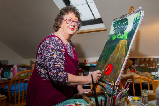 Alison Chandler at work in her studio in Johnshaven.