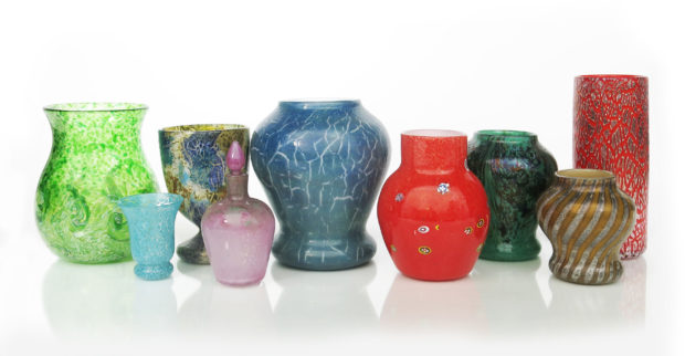 A selection of Monart Glass items up for auction