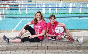 Katie Pake and Olympic swimmer Hannah Miley launched Cancer Research UK Race for Life. Picture by Simon Price.