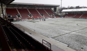 The waterlogged East End Park pitch.