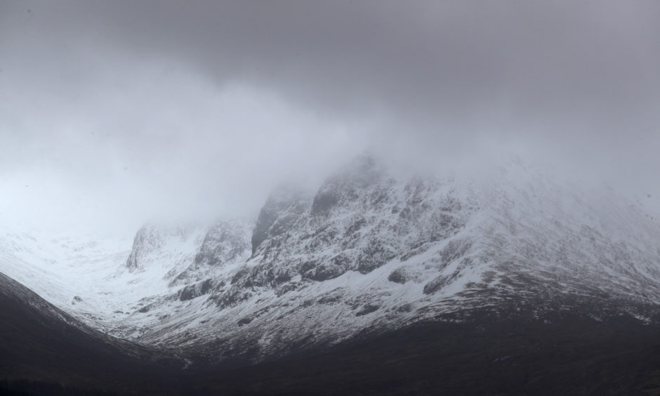 """A view of the North Face of Ben Nevis mountain in Scotland. A young climber is being treated for serious injuries after an avalanche on the UK's highest mountain """"wiped out"""" a climbing party, killing three of them."""