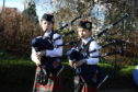 Young bagpipe players Brodie Barrie and Isla Fletcher at Perform in Perth