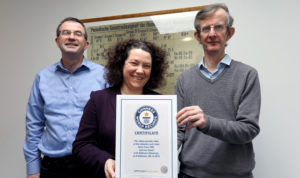 Professor David O'Hagan,  Gabriel Sewell, and Dr Alan Aitken with the world record confirmation.