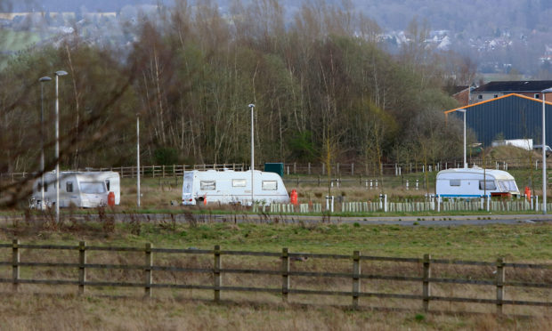 Caravans near the traveller camp at Perth Food and Drink Park