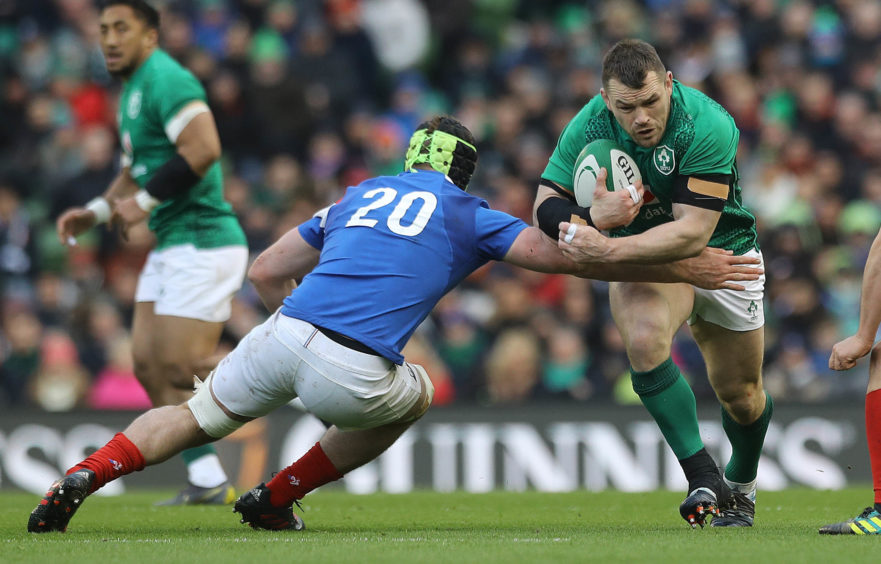 Ireland's Cian Healy (right) and France's Gregory Alldritt during the Guinness Six Nations match at the Aviva Stadium, Dublin.