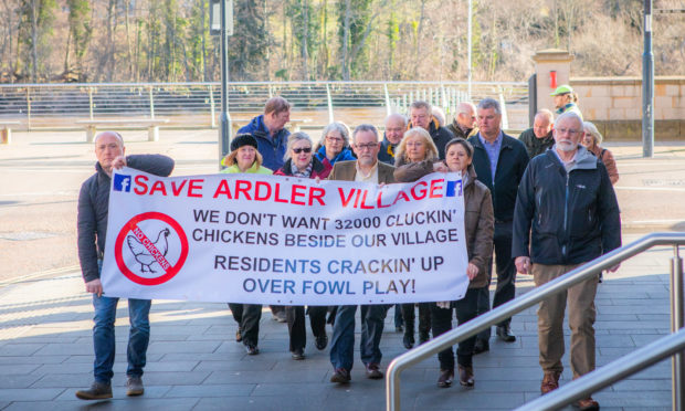 The protest over plans for a new chicken farm at Ardler in Perth.