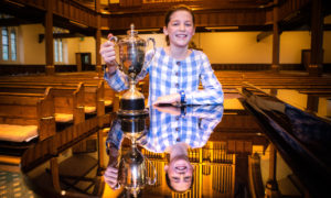 Kate Dunphie (Kilgraston School) winner of The Anne Nicoll Cup for Vocal Solo - Scots Songs, Girls aged 10 or 11 class.