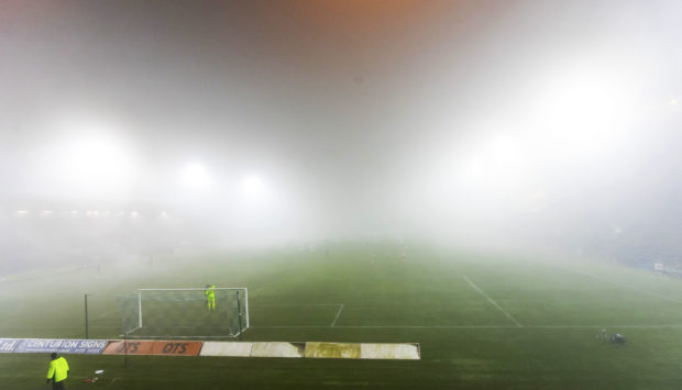 A fogbound Rugby Park.