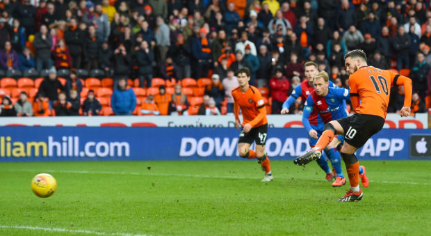 Nicky Clark of United makes it 1-1.