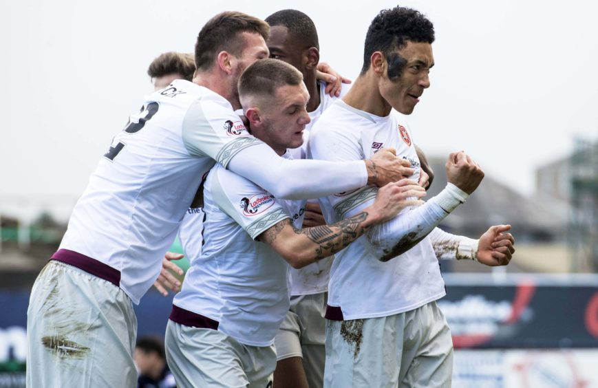 DUNDEE v HEARTS  THE KILMAC STADIUM AT DENS PARK - DUNDEE Sean Clare celebrates after scoring to make it 1-0 Hearts