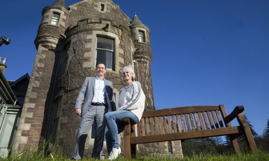 """Blane Dodds, Tennis Scotland Chief Executive and Judy Murray outside Cromlix House, Dunblane, bought by her Wimbledon champion son Andy Murray. Tennis Scotland and Judy Murray joined forces to call for support from the LTA and Scottish Government after agreeing that the work to provide a lasting legacy for Andy and Jamie Murray is now """"time critical""""."""