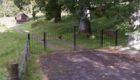 The stolen gates at Strowan Woodland Cemetery