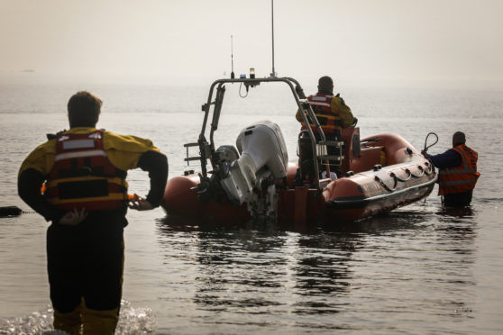 British Divers Marine Life Rescue were on standby to launch from Kinghorn harbour
