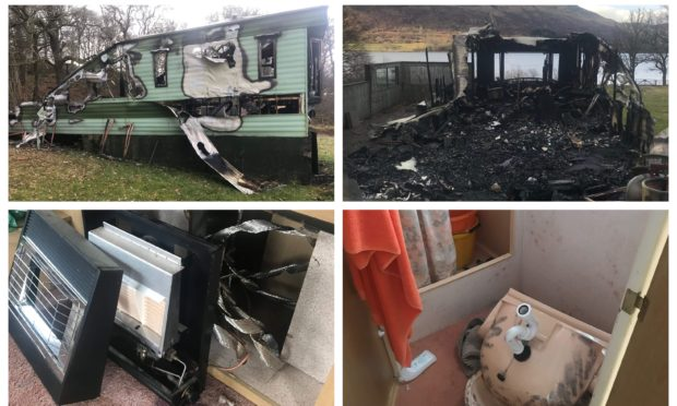 One of the caravans was destroyed by fire.
