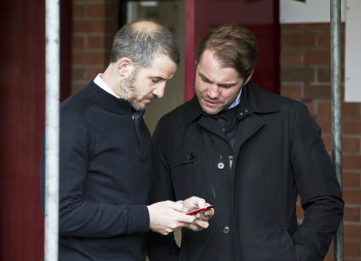 Stevie Crawford and Robbie Neilson at East End Park.