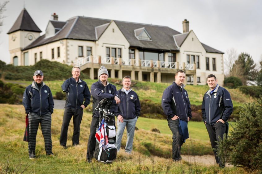 Veterans taking part in Caddie school at the Duke's Course by St Andrews