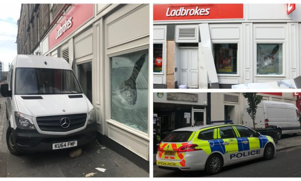 The scene at Ladbrokes on Union Street following the incident.