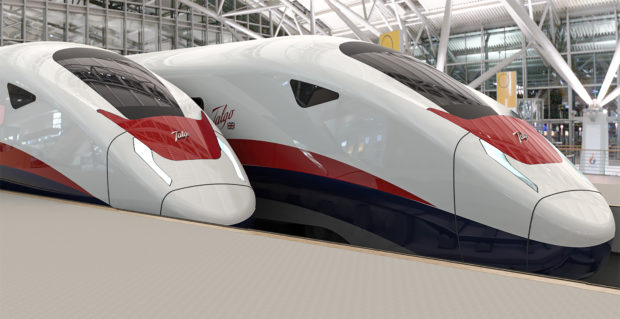 An artist's impression of Talgo new AVRIL UK train, that could be seen on some of Britain's future high speed railway lines.