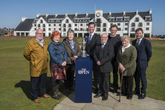Left to Right David Fairweather Leader of Angus Council, Libby McLain (Food is Free) Jean Brown (Cycling without age) Philip Russell R&A, David Cheape Convener of the R&A Legacy Panel, Steven Burke (Freinds of Barry Mill) Kirsty McDonald (Colourful Carnoustie) and Mark Armstrong Deputy Chief Executive Angus Council.