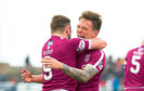 Arbroath's Ricky Little (R) celebrates his goal to make it 1-0.