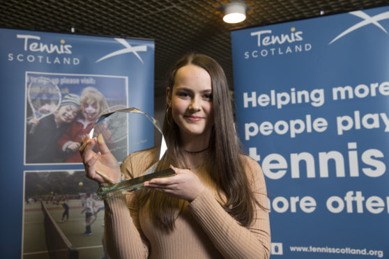 Alix Christie, who won the Young Person of the Year award, at the Tennis Scotland Awards 2018