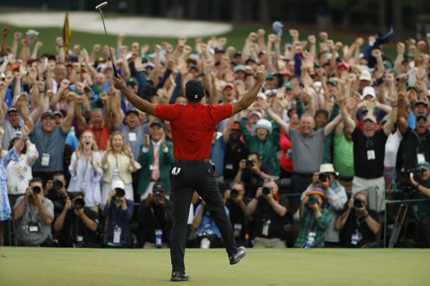 Tiger Woods wins the Masters golf tournament.