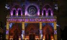 Sound and light show at Notre Dame de Paris cathedral, France.