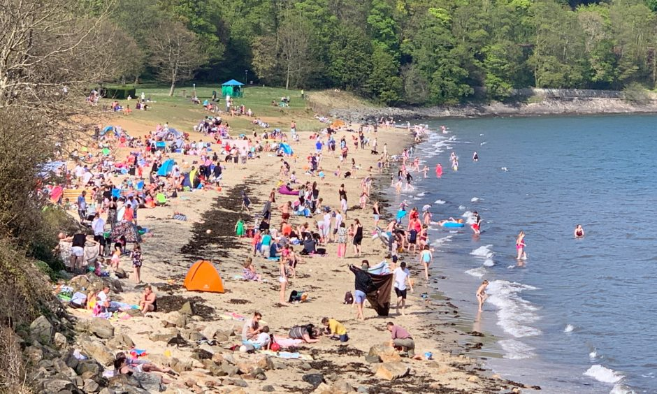 Aberdour's Silver Sands on Easter Monday.