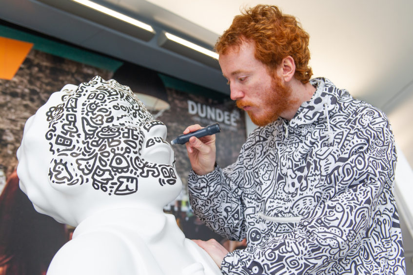 Oor Wullie statue given makeover by Instagram star Mr Doodle at Dundee Railway Station