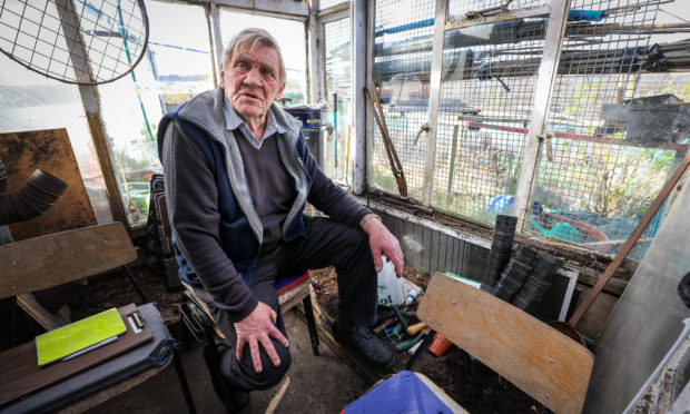 Don Elder in his shed.