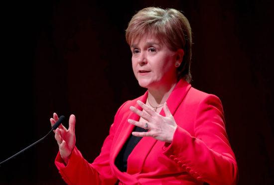 Nicola Sturgeon addresses the Scottish Trade Union Congress (STUC) at the Caird Hall