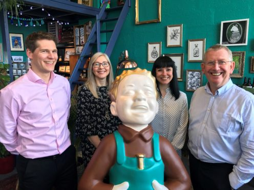 Suzanne Scott, second from right, in her studio alongside Aimers Tea & Coffee general manager Robert Sinclair, administration manager Arlene Lennie and managing director Eric Duncan.