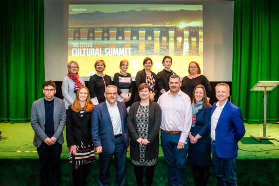 Picture shows, front row, left to right is Gary Cameron (Creative Scotland), Caroline Warburton (Visit Scotland), Stewart Murdoch (Leisure and Culture Dundee), Lesley Toles (Fife Cultural Trust), Billy Gartley (Leisure and Culture Dundee), Kirsty Hunter (ANGUSalive) and Philip Long (Director, V&A Dundee). Back row, left to right is Dame Seona Reid (Heritage Lottery Fund), Pamela Reid (Ekosgen), Michelle Sweeney (Fife Cultural Trust), Heather Stuart (Fife Cultural Trust), Ríona McMorrow, (Heritage Lottery Fund Scotland) and Helen Smout (Culture Perth and Kinross).
