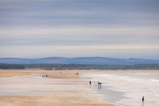 Scenic views of West Sands beach in St Andrews.