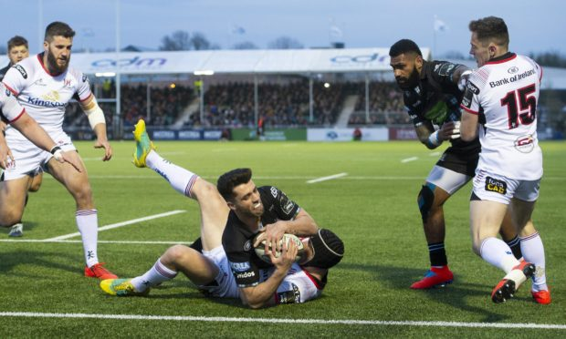 Adam Hastings goes over to score Glasgow's second try.