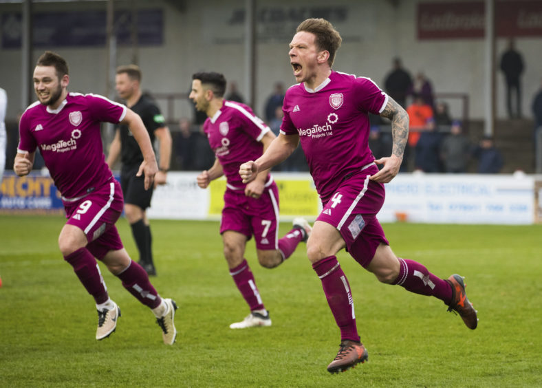 Arbroath's Ricky Little (R) celebrates his goal to make it 1-0