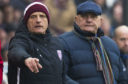 Arbroath coach Rab Douglas, left, assistant Ian Campbell and manager Dick Campbell.