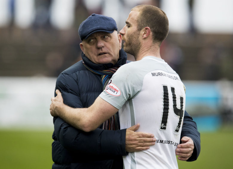 Arbroath manager Dick Campbell with Montrose's Sean Dillon at full-time