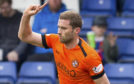 Dundee United's Pavol Safranko celebrates his goal to make it 1-0.