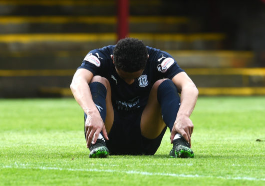 A dejected Nathan Ralph at the final whistle.