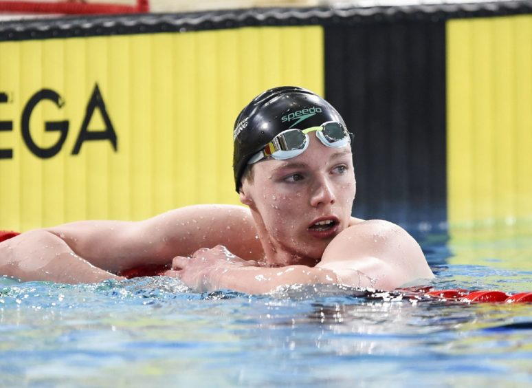 Duncan Scott after winning his heat of the Mens 200m Butterfly.