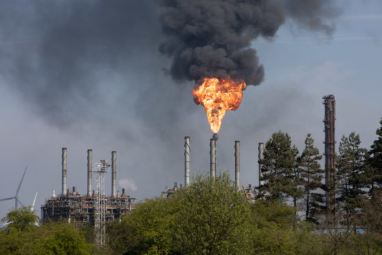 Thick plumes of black smoke belched from Mossmorran earlier in the latest episode of flaring.