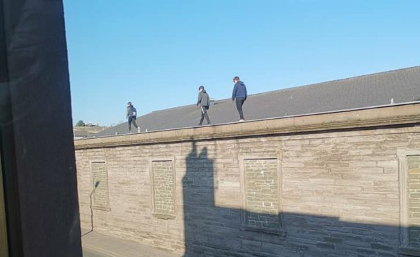 Kids on the roof in Brechin