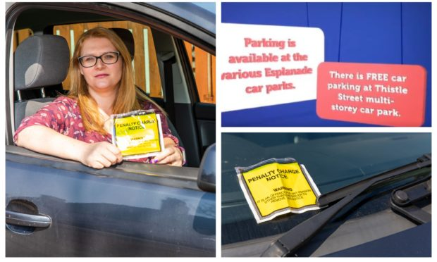 Katy Stevenson with the ticket she received in a car park she was advised was free. Top right shows a screengrab from the original video.