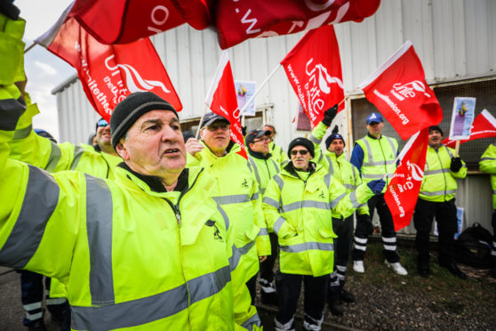 The picket line outside the recycling centre in Forfar.